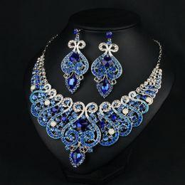 $enCountryForm.capitalKeyWord Australia - Royal Blue Wedding Jewelry Water Drop Crystal Collarbone Chain Necklace Set Bridal Jewelry Pearls Luxury Bracelets Necklace & Earings LP952
