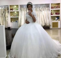 $enCountryForm.capitalKeyWord Australia - Vintage Princess Wedding Dresses 2019 Modest Saudi Arabia Dubai Tulle Appliqued Formal Bride Bridal Gowns Plus Size Custom Made