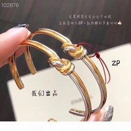 designer copper jewelry Australia - Luxury Classic Designer Copper With Gold Plated And Silver Doule Cross Twisted Knot Charm Open Bangle For Women Jewelry
