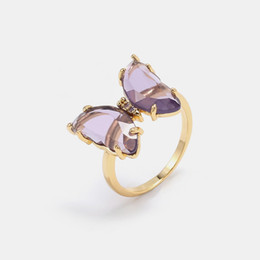 pink butterfly ring NZ - Luxury jewelry women pink purple glass butterfly designer rings copper with gold plated diamond rings for girl fashion style