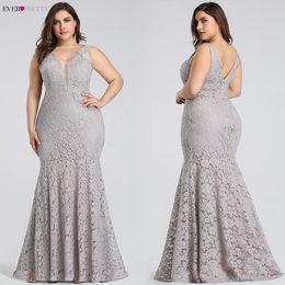 $enCountryForm.capitalKeyWord Australia - Plus Size Prom Dresses Ever Pretty Ep08838 Elegant Mermaid Lace Sleeveless V-neck Long Party Sexy Wedding Guest Gowns Q190522