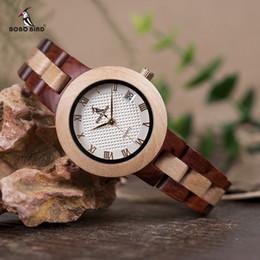 Luxury Quartz Sinobi Wrist Watch Australia - Bobo Bird Two-tone Wooden Watch Women Top Luxury Brand Timepieces Quartz Wrist Watches In Wood Box Accept Customize Y19052201