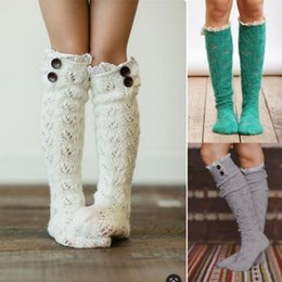 crocheted ankle cuffs Australia - Women Lace Wool Socks Solid Color Crochet Knitted Boot Cuffs for Women European and American Pile of Socks Suit for Dress Fashion Hosiery