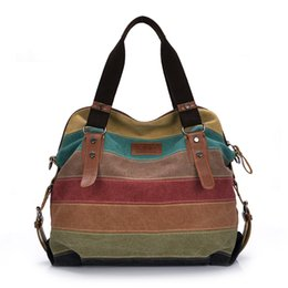 Discount handbags colorful patchwork - Colorful Women Canvas Shoulder Bag Large Satchel Handbags Ladies Patchwork Crossbody Messenger Bag Women Casual Tote