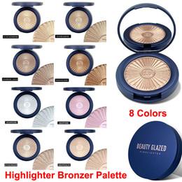Makeup Beauty Glazed Bronzer Highlighter Powder Face Contour Glow Blusher Eyeshadow Palette Skin Brighten Illuminator Powder with Mirror on Sale