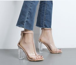 Sandals European Australia - Sexy2019 European Wind Transparent Coarse Cool Boots Crystal Sandals Super High With Fish Mouth Women's Shoes Foreign Ebay