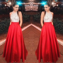 Silk Red Dress For Women Australia - Women Patchwork Red&white Sequin Halter Evening Long Gown Dresses for Ladies Empire Waist Backless Elegant Dress Femme