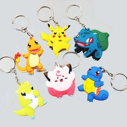 Mini Figures Keychain Australia - Go Keychain Pocket Monsters Key Holder Pikachu Key Ring Pendant Mini Charmander Squirtle Bulbasaur Figure Toys