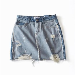 c84dff1a322aef Ripped Sexy Short Mini Jeans Skirts Girls 2019 Summer High Waist Hole  Tassel Fashion Contrast color Women Denim Skirt