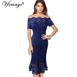 Red White Formal Pencil Dresses NZ - Vfemage Women Off Shoulder Vintage Floral Lace Pinup Formal Cocktail Wedding Party Bodycon Mermaid Pencil Wiggle Midi Dress 980 T190601