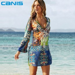 Wholesale Summer Style Women Sexy Swimsuit Cover Up Long Sleeve Bikini Cover Ups Chiffon Flower Beach Mini Dress Robe Vestidos