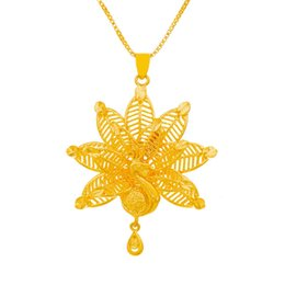 peacock chain necklace Australia - Peacock Opening Design Pendant Chain Yellow Gold Filled Perfect Womens Girls Pendant Necklace Charm Gift