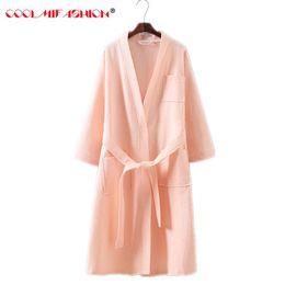 4318296b3b New Woman Cotton Waffle Bath Robe Kimono Sexy Woman Summer Bathrobe Suck  Sweat Dressing Gown Female Lounge Robes Thin Sleepwear
