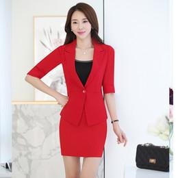 Flattering Clothes For Plus Size Australia - New Style Red Blazer Women Set tailleur femme jupe et veste elegant Office Clothes Skirt Suit For Work Wear Plus Size