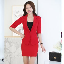 5992bf574c8c New Style Red Blazer Women Set tailleur femme jupe et veste elegant Office  Clothes Skirt Suit For Work Wear Plus Size