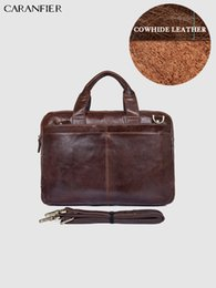 Genuine Leather Handbag Cowhide Shoulder Bag Australia - CARANFIER Men Briefcase Business Fashion Messenger Bag Genuine Cowhide Leather Large Capacity Laptop Bags Shoulder Handbags
