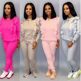 Wholesale pink ruffle sweater resale online – Women solid color piece set long sleeve ruffle sweater bodycon pants designer fall winter clothing fashion casual suit
