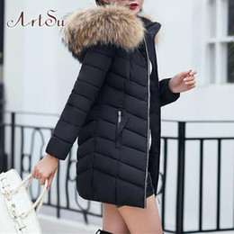 Wholesale parka korean style resale online - Long Winter Jacket Women Plus Size Fax Fur Hooded Parka Jacket Bubble Coats Ladies Warm Korean Style Streetwear ASCO20360