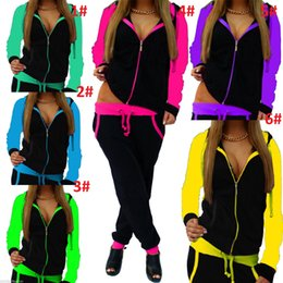 Knit Suits Wholesales Australia - Drawstring Elastic Waist Suit Stitching color Knit Tracksuit Zipper Hooded Shirt+Slim Pencil Pant Suit Casual Fitness Suit Warm Outfit HT248