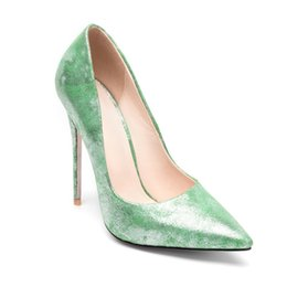 84bc7b94778 Sexy Woman Dress Shoes Glitter man-made Leather 12cm Super High Thin Heels Pumps  Pointed Toe Club Wedding Party Office Lady Stiletto shoes