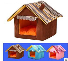 pet house beds 2019 - Striped Removable Cover Pet House Dog Cat Sleeping House Fashion Puppy Teddy Kitten Warm Breathable Bed cheap pet house