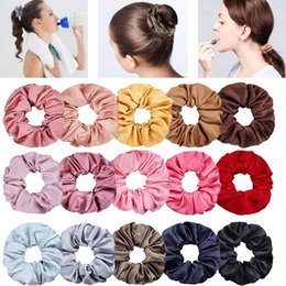 $enCountryForm.capitalKeyWord Australia - 1PC Silky Satin Solid Hair Scrunchies Women Elastic Hair Bands Ponytail Holder Hair Accessories Rope Ties For Girls Headwear