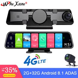 Discount bluetooth android inch - WHEXUNE New 4G Car DVR 12 inch Android 8.1 Full HD dual 1080P camera smart rearview mirror navigation with Bluetooth WIF