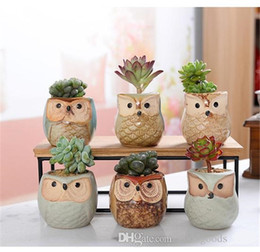 ceramics owl Australia - Creative Ceramic Owl Shape Flower Pots 2018 New Ceramic Planter Desk Flower Pot Cute Design Succulent Planter Pot ST774