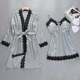 Discount gold robes wholesale - 2019 Women Sexy Satin Silk Nightdress Kimono Bathrobe Set Bridesmaid Lingerie Wedding Nightgown Sleepwear Nightwear robe