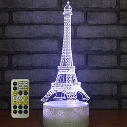 Usb Powered Christmas Lights Australia - Tower 3D Night Light,Remote Control,Dimmable,Battery or USB Powered,7 Colors Change Christmas Birthday Gift for Boys Girls Baby
