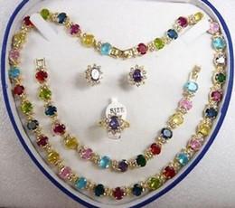 $enCountryForm.capitalKeyWord Australia - Women's cospay mujer moda multicolor zircon Necklace Bracelet Earring Ring(6 # -9 #)^^^ GP style Fine jewe Noble
