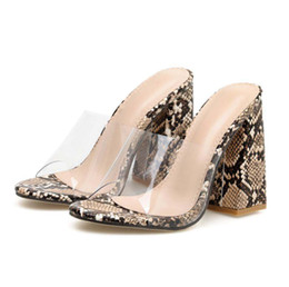 blocked heels shoes Canada - Size 35 To 42 trendy summer shoes snake prints PVC clear block heel designer slides mules luxury women designer sandals come with box