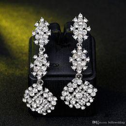 $enCountryForm.capitalKeyWord Australia - New Bridal Earrings with Crystals Rhinestones Water Drop Earring Bridal Jewelry Findings Wedding Accessories For Brides BW-041