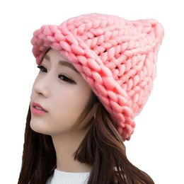 hand knitted beanie UK - Wholesale Simple girl Casual Cotton Acrylic Rushed New Fashion Female Winter wool Hats Hand Coarse Knitted Hat For Women Beanies T200116