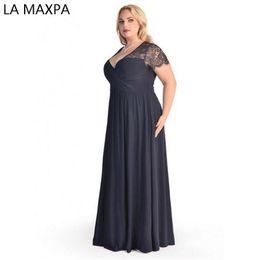 18ccb41b17fb Women Big Large Plus Size Elegant Sexy Evening Maxi Long Little Black Red  Party Lace Dresses 2xl 3xl 4xl 5xl 6xl Clothing Gown Y19051001