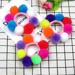 $enCountryForm.capitalKeyWord Australia - Candy Full Long Hair Balls Elastic Hair Bands For Girls Handmade Bow Headband Scrunchy Kids Hair Accessories For Women