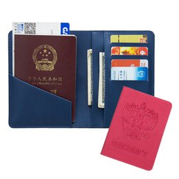 Discount wallet credit card protectors - PU Leather Russian Travel Multifunction Passport Holder Protector Cover Card Credit Passport Case Wallet