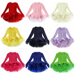 tulle sweater 2020 - Kids Designer Clothes Girls Tutu Dresses Solid Children Princess Dress Long Sleeve Girl Sweater Boutique Kids Clothing 1