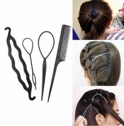 hair styling accessories for buns UK - 4pcs Twist Styling Tools Clip Stick Bun Maker Tools Comb Pull Pins Hair Accessories Hairdressing For Women girls