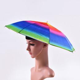 Sunny Hats Australia - Rainbow Color Umbrella Hat Adult Children Outdoor Foldable Rain Sun Umbrella Cap for Golf Fishing Camping Hiking W9994