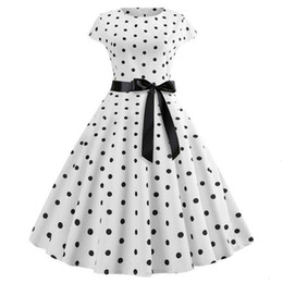 plus size linen clothing Canada - Designer Dresses Plus Size Women Clothing 2019 New Women Vintage Dress Polka Dot Up Linen Print 50S Party Sundress Vestidos