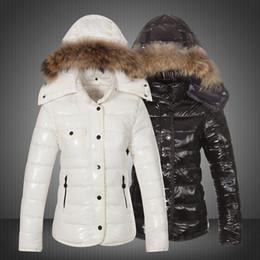 Short Sleeve white denim jacket online shopping - Fashion Ladies Short Hooded Bright Goose Down Jacket Designer Jacket Down Coat Hooded Fur Zipper Closed Warm Jacket
