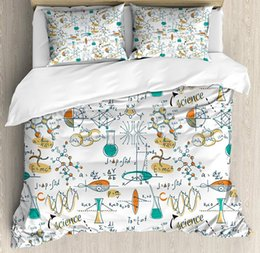 Wholesale Doodle Duvet Cover Set Queen Size Science Lab Objects Themed Drawing Scientific Formulas Biology Bedding Set Pillow Shams