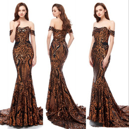 black off shoulder lace NZ - Luxurious Gold with black Sequined Graduation Prom Dresses Sexy Off-shoulder Lace Mermaid Formal Evening Dress Prom Gowns robe de soiree