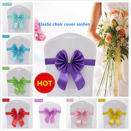 Elastic chairs online shopping - 16 colors elastic chair covers sashes taffeta chair sashes banquet bowknot chiffon cover for band wedding home parties accessories