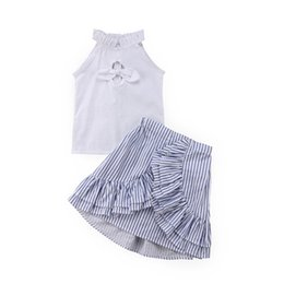$enCountryForm.capitalKeyWord UK - 2PCS Toddler Kid Baby Girls Summer White T-shirt Tops+Stripe Split Skirt Outfits
