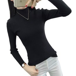 Knitted necK warmers for women online shopping - 2017 Fashion Autumn Winter O neck Turtleneck Sweater Solid Color Pullovers Slim Warm Knitted Sweater For Women Ma0042