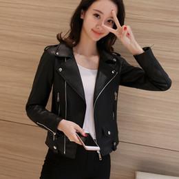 Korean Motorcycle Jacket Australia - 2019 Spring Clothes New Korean Style Casual Black Motorcycle Coat Women Tops Harajuku Elegant Slim Short PU Jacket Girl QH100