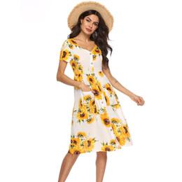 9deb7ac9ba European and American Women's Clothing Manufacturers Ebay Blast Summer  Bohemian Wind Print Button V Collar Short Sleeve Pocket Dress