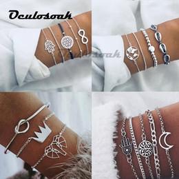 $enCountryForm.capitalKeyWord NZ - Silver Chain Bracelets For Women Men Tree Moon Palm Charm Bracelets Sets 2019 New Boho Jewelry Gifts Bohemia 5pcs set